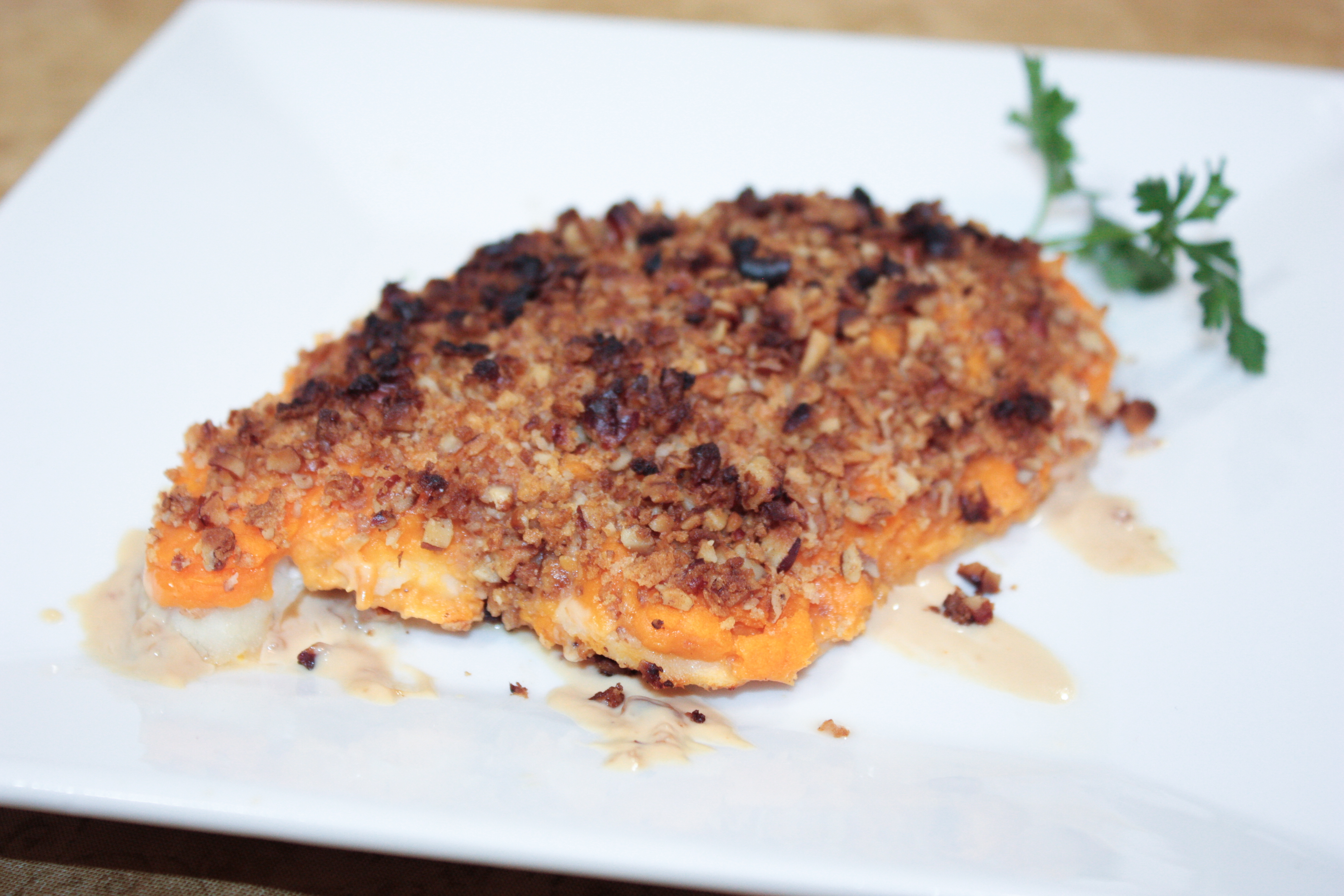 Broiled tilapia with sweet potato crust and vanilla cream for Morey s fish