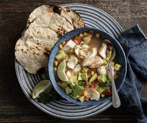 Avocado Lime Corn and Cod Soup