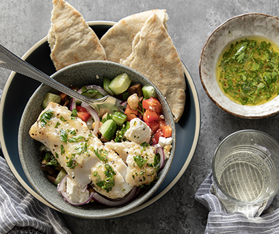 Herbed Cod and Chickpea Salad