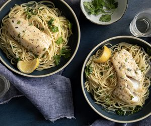 Lemon Garlic Pasta and Herb Cod