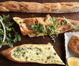 Salmon and Egg Bread Boats