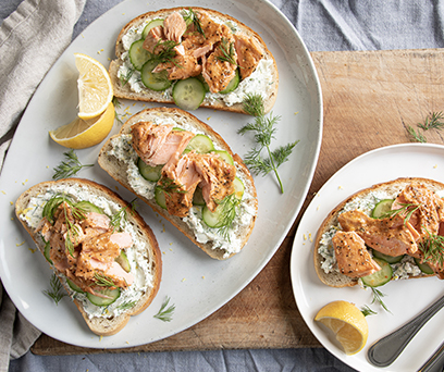 Lemon Goat Cheese Salmon Sandwich